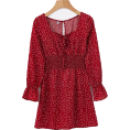 FECLOTHING - Vintage red polka dot square neck dress - Obleke - $27.99  ~ 24.04€