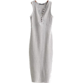 FECLOTHING - V-neck multi-buckle side slit dress - Dresses - $25.99