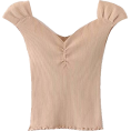FECLOTHING - V-neck solid color knit short-sleeved to - Shirts - $23.99