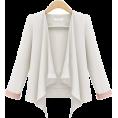 lence59 - White Long Sleeve Casual Crop Blazer - Trajes -