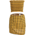 FECLOTHING - Yellow Plaid Short Skirt Set - Suits - $27.99