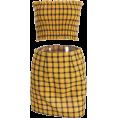 FECLOTHING - Yellow Plaid Short Skirt Set - Suits - $27.99