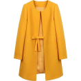 sandra  - Yellow Ribbon Bow Belted Pea Coat - Jaquetas e casacos -