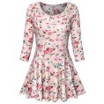 Youtalia - Youtalia Womens Floral Printed 3/4 Sleeve Scoop Neck A Line Curved Hem Casual Tunic Tops - Shirts - $39.99