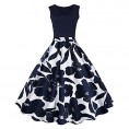 ZAFUL - ZAFUL Women 1950s Floral Print Polka Dot Vintage Flare Dress Pin up A Line Dress Ball Gown - Dresses - $16.99