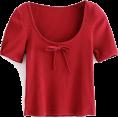 FECLOTHING - bow U-neck thread T-shirt - Shirts - $19.99