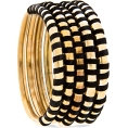 Viktoria Jurica - Gold Bracelet With Black Strin Bracelets Gold - Zapestnice -