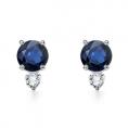 Angara Earrings -  Round Sapphire and Diamond Earrings in White Gold 14K