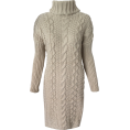 FECLOTHING - long sweater hem split knit dress - Dresses - $35.99
