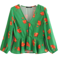 FECLOTHING - tie with lotus leaf eight-sleeve blouse - Bolero - $27.99