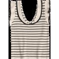 lence59 - Ruffled Striped Knit Tank Top - Tanks - $16.99