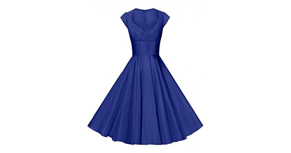 GownTown 1950s Vintage Dresses V-Neck Short-Sleeves Dresses Swing Stretchy Dresses