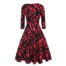 Acevog Dresses -  ACEVOG Women's 50s Hepburn Style Vintage Long Sleeve Floral Party Cocktail Evening Dress