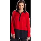 AK Anne Klein Tunic -  AK Anne Klein Women's Plus Size Color Block Tunic Blouse Red Poppy