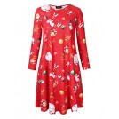 AMZ Plus Dresses -  AMZ PLUS Womens Printed T-Shirt Dress Christmas Pullover Flared A line Swing Casual Dress Red-Christmas 3XL