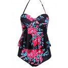 Aleumdr Swimsuit -  Aleumdr Womens Underwire Floral Printed Flounce Retro High Waisted Tankini Swimsuit