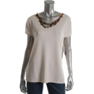 Jones New York T-shirts -  Jones New York Collection Surabaya Pullover Sweater Beige BHFO Embellished Misses S