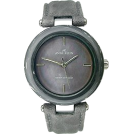 AK Anne Klein ウォッチ -  Anne Klein Women's 10-9853BMBK Black Calf Skin Quartz Watch with Silver Dial