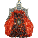 MG Collection Clutch bags -  Antique Victorian Applique Plated Brooch Beaded Clasp Purse Clutch Evening Handbag w/2 Detachable Chains Red