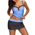 Amazon.com Skirts -  Azokoe Womens Sweatheart Neck Color Block Tankini Swimsuits With Pantyskirt