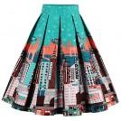 Babyonlinedress Skirts -  Babyonline Women Vintage Skater Skirts High Waist Midi Print Rockabilly Skirt