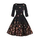 Babyonlinedress Dresses -  Babyonlinedress O-Neck 3/4 Sleeve Floral Printed Vintage Dresses for Women