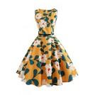 Babyonlinedress Dresses -  Babyonlinedress O-Neck Printed Vintage Swing Formal Cocktail Dresses