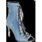 PaoM Boots -  Balmain-Denim Lace up Peep toe booties