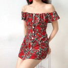 FECLOTHING Dresses -  Barcelona style flower buttoned ruffled