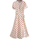 FECLOTHING Shirts -  Beige Dark Red Dot French Wrap Dress