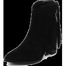 scarlett ✧☆・゚:☆✧ Čizme -  Black Suede Fringed Ankle Boots