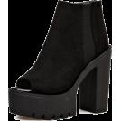 scarlett ✧☆・゚:☆✧ Čizme -  Black Suede Peep Toe Cleated Platform