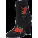scarlett ✧☆・゚:☆✧ Čizme -  Black Suede  Rose Embroidered Ankle Boot