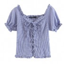 FECLOTHING Shirts -  Blue Plaid Retro Puff Sleeve Strap with