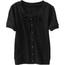 FECLOTHING Shirts -  Bow knot Buttoned Short-Sleeve T-Shirt