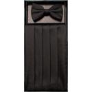 FineBrandShop Tie -  Boys Black Patterned Cummerbund and Bow Tie Set
