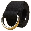 MaiKun Belt -  Canvas Web Belt Double D-ring Buckle 1 1/2 Inch Extra Long Metal Tip Solid Color