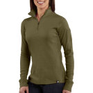 Carhartt Long sleeves t-shirts -  Carhartt WK121 Women's Quarter-Zip Thermal Knit Basil