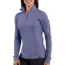 Carhartt Long sleeves t-shirts -  Carhartt WK121 Women's Quarter-Zip Thermal Knit Blue Dusk