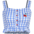 FECLOTHING Shirts -  Cherry Embroidered Plaid Pleated Lace Ca