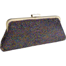 MG Collection Clutch bags -  Chic Metallic Swirled Pattern Hand Beaded Rhinestones Closure Framed Evening Bag Clutch Purse Handbag with 2 Detachable Shoulder Chains Purple