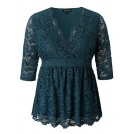 Chicwe Shirts -  Chicwe Women's Plus Size V Neck Stretch Lined Scalloped Lace Peplum Top - Casual and Work Blouse