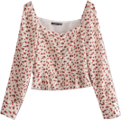 FECLOTHING Shirts -  Collar Floral Frill Long Sleeve Shirt