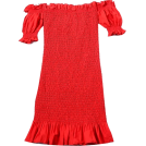 FECLOTHING Dresses -  Collar Puff Sleeve Stretch Pleated Dress