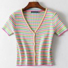 FECLOTHING Shirts -  Colorful striped cardigan v-neck retro n
