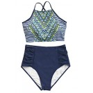 Amazon.com Costume da bagno -  Cupshe Fashion Women's Printing Criss Cross Tie Back High Waisted Bikini Set Beach Swimwear Bathing Suit