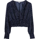 FECLOTHING Long sleeves shirts -  Deep V-neck ruffled short-wave point chi