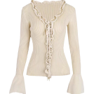 FECLOTHING Cardigan -  Deep V-neck ruffled tie trumpet sleeve k