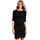 Donna Morgan Obleke -  Donna Morgan Women's 3/4 Sleeve Novelty Jersey Dress with Ruffle Black