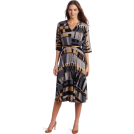 Donna Morgan Kleider -  Donna Morgan Women's Printed Jersey Elbow Sleeve Dress Smoke